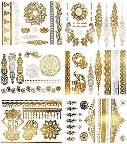 Temporary Boho Metallic Henna Tattoos - Over 75 Mandala Mehndi Designs in Gold and Silver (6 Sheets) Terra Tattoos Jasmine Collection