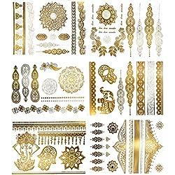 Temporary Boho Metallic Henna Tattoos - Over 75 Mandala Mehndi Designs in Gold and Silver (6 Sheets) Terra Tattoos Jasmine Collection