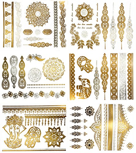 Premium Metallic Henna Tattoos - 75+ Mandala Boho Designs in Gold and Silver - Temporary Fake Shimmer Jewelry Tattoo - Flowers, Elephants, Bracelets, Wrist and Arm Bands (Jasmine (Hippie Tattoo Designs)
