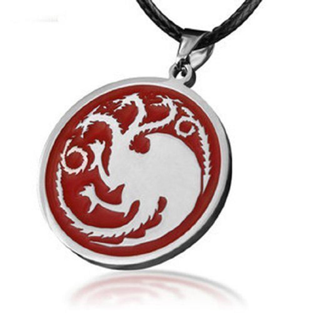A Song Of Ice And Fire Game Of Thrones The House Of Targaryen Dragon Badge Necklace Pendanttitanium Steel Karazan