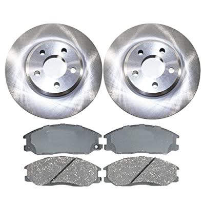 Auto Shack RSCD630241056 4 Front Ceramic Brake Pads and 2 Front Disc Brake Rotors: Automotive