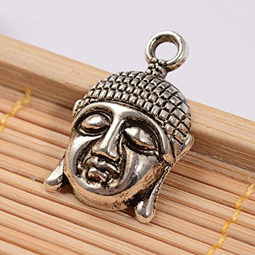 (10 x Tibetan Silver Buddha Head Charms Pendants Beads)