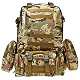 Hugmania 55L Military Assault Tactical Backpack 3 Molle Bags Pack Combat Rucksack Gear with 3L Water Bladder/ Boonie Cap/ Survival Multitool Kit for Camping, Hiking, Trekking, Climbing, Travel (CP)