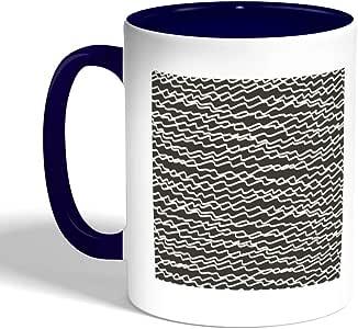 كوب سيراميك للقهوة بتصميم خطوط عشوائية ، لون ازرق