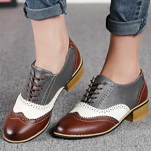 7 Zapatos Fur White DoraTasia Grey para Beige Lining Cordones Mujer de no WXqq0dz