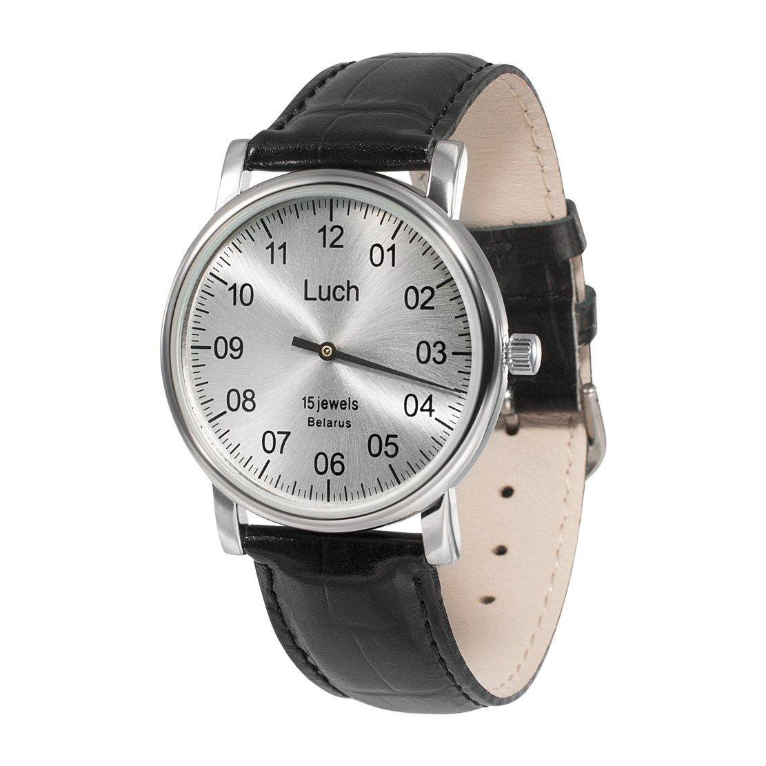 Luch Armbanduhr mit einem Zeiger, mechanisch, silberfarbenes Zifferblatt, verchromt 37471762