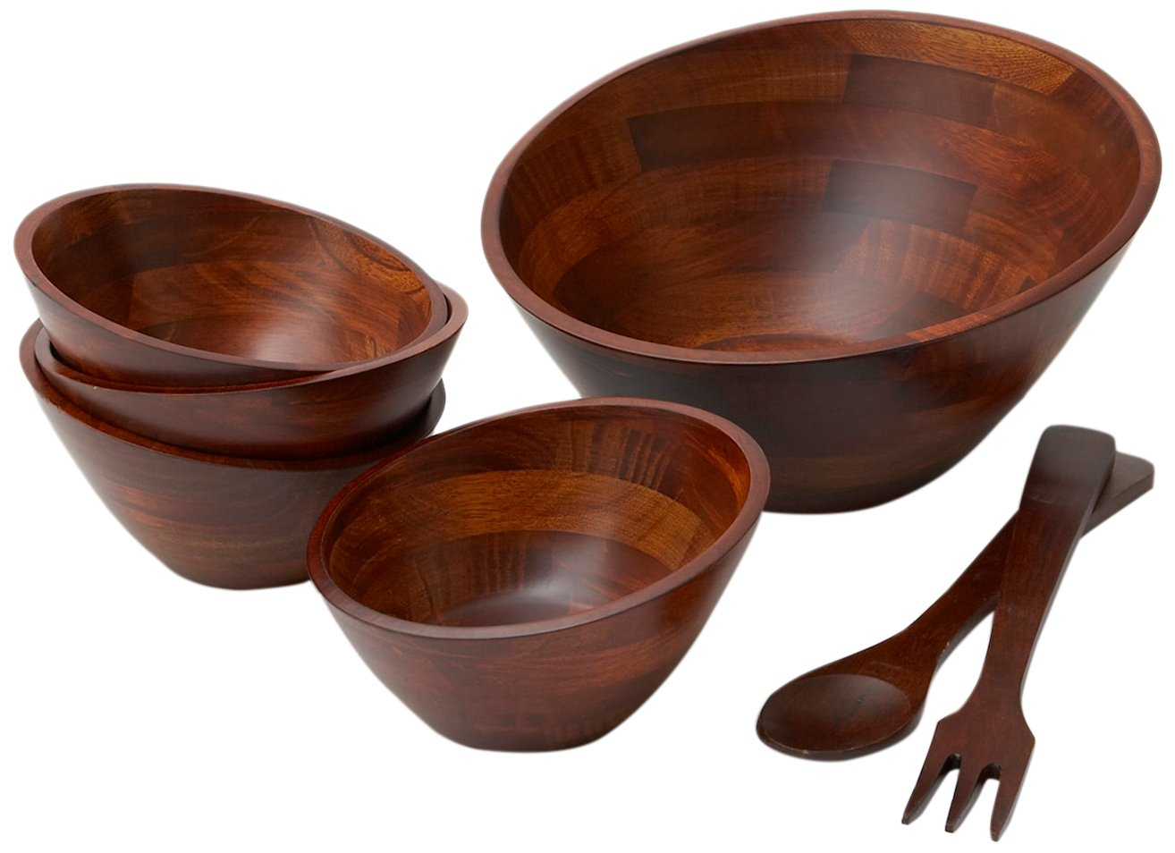 Woodard & Charles WC802-7 7 Piece Angle Wood Salad Bowl Set, Cherry