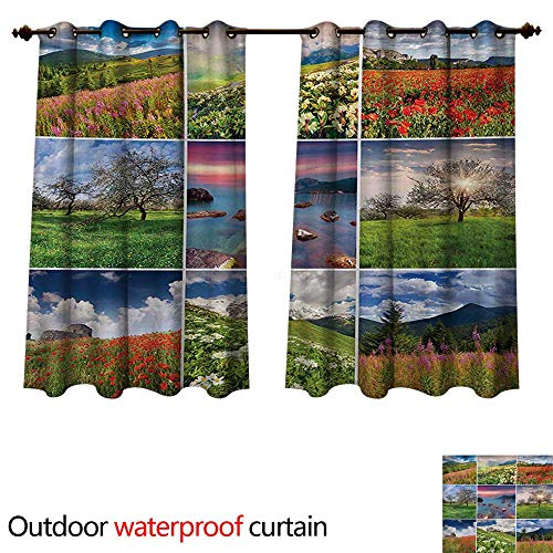 WilliamsDecor Summer Home Patio Outdoor Curtain Collage with Nine Different Square Framed Freshening Summer Landscapes Rural Nature W108 x L72(274cm x 183cm)