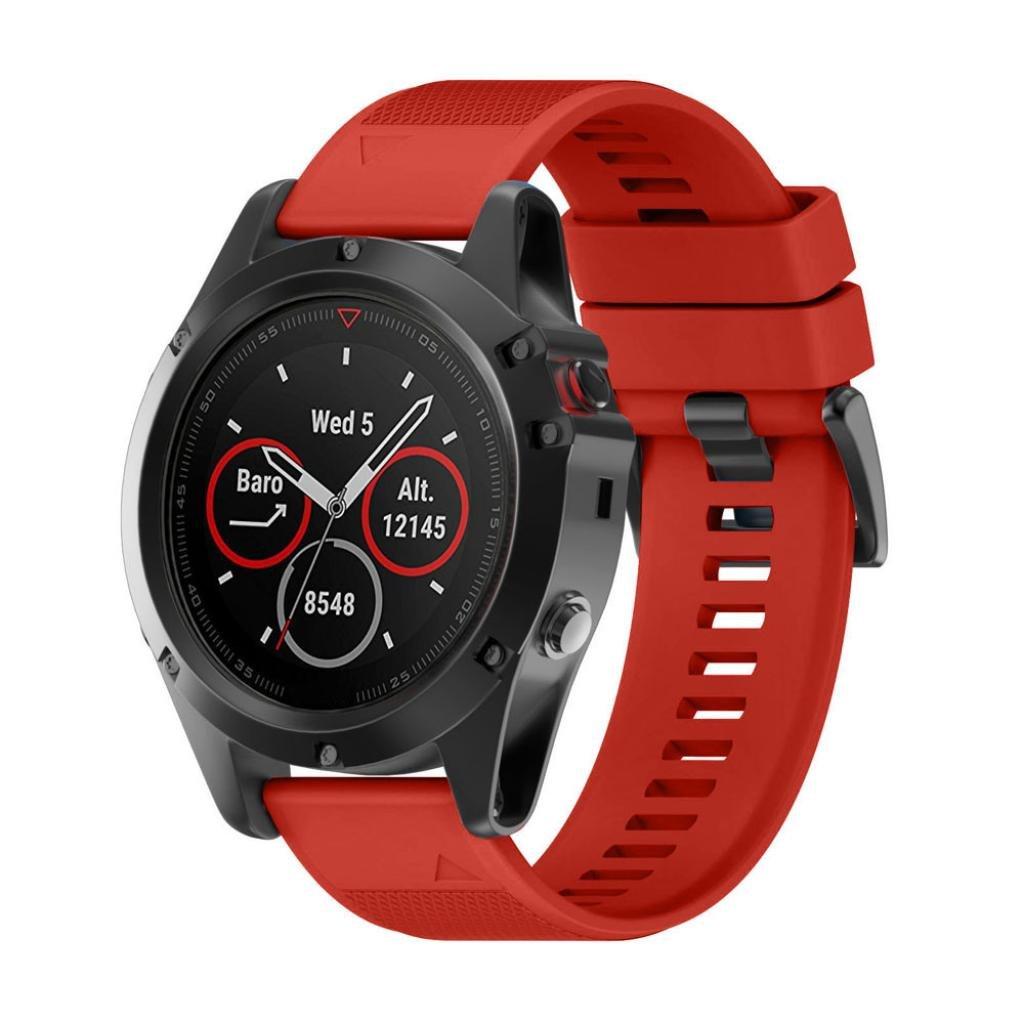 morrivoeバンドfor Garmin Fenix 5 x GPS Watch、ソフトシリコンリストバンド交換バンドGarmin Fenix 5 x GPS  レッド B07C8L4NRJ