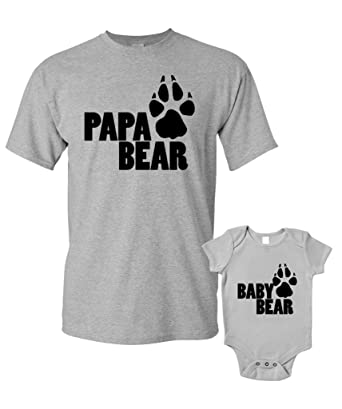 ef955159111 Papa Bear and Baby Bear T-Shirts Baby Grow Matching Father Child Gift Set 2
