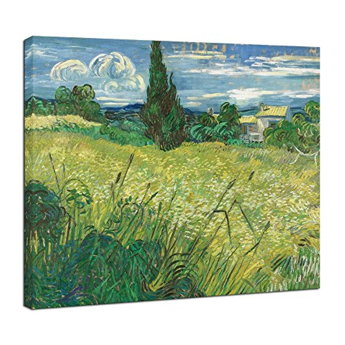 Wieco Art Modern Abstract Giclee Canvas Prints Wall Art Green Field 1889 by Van Gogh Famous Oil Paintings Reproduction Artwork Stretched and Framed Landscape Picture for Kitchen Home Office Decoration