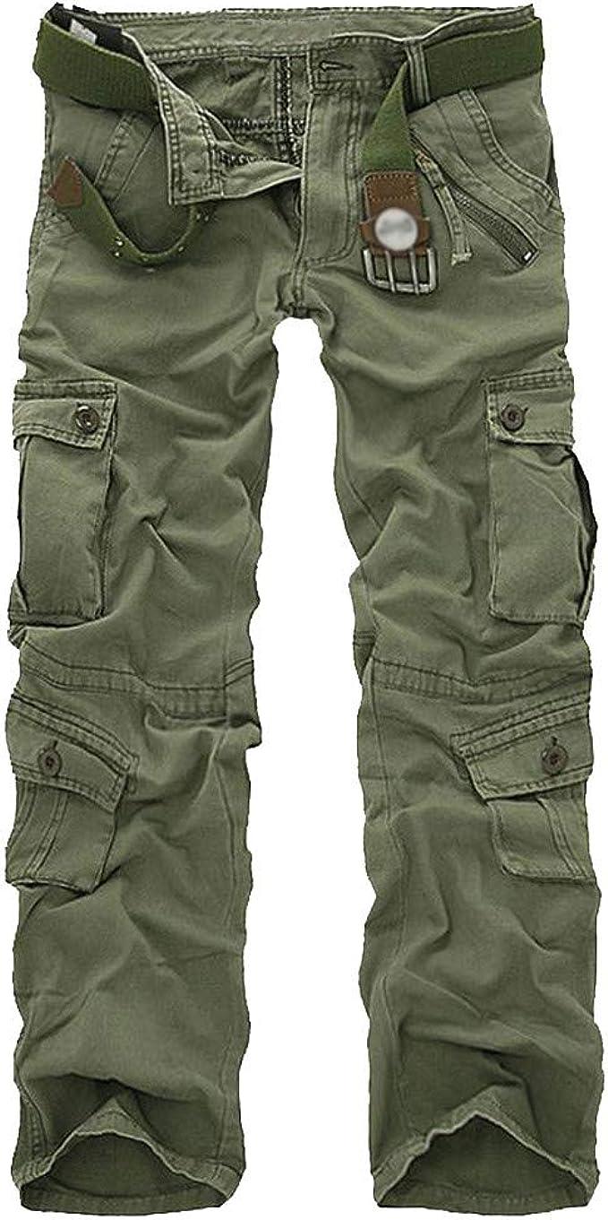 Cargo/&Chinos Mens Trousers Multi-Pocket Combat Zipper Cargo Waist Work Casual Pants