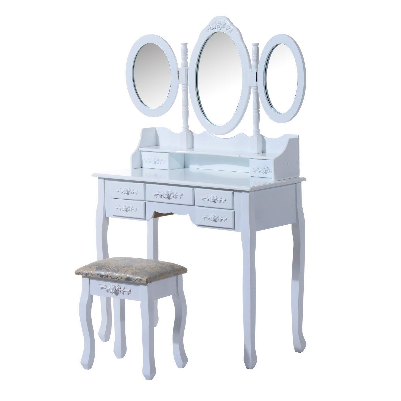 Makeup Dressing Table Vanity Set Wood Triple Folding Mirrors Drawers w/Stool Aosom Canada 831-096