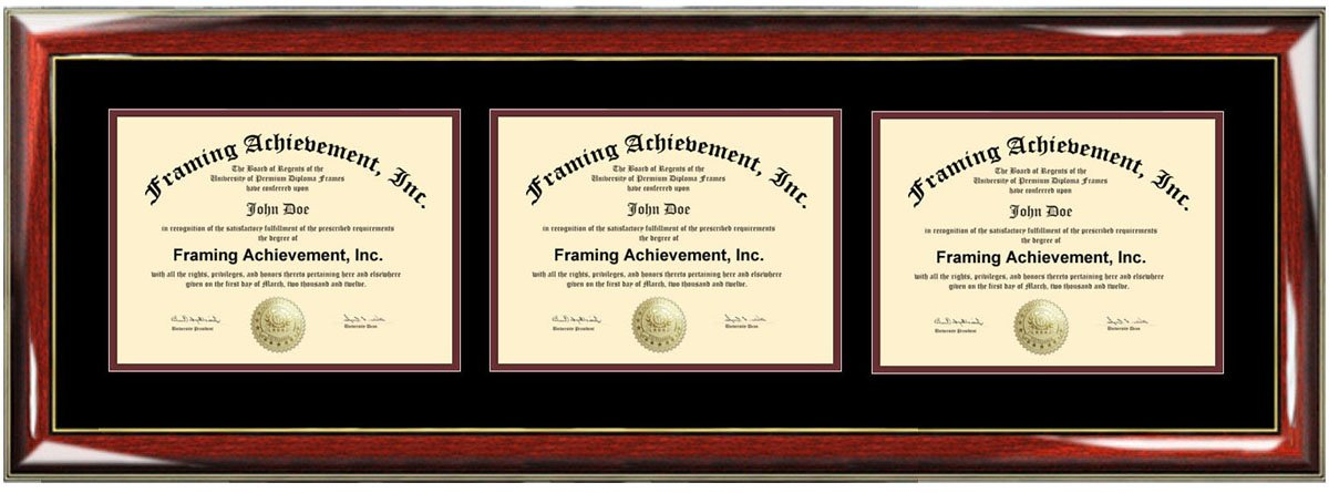 amazoncom triple diploma frame horizontal certificate frames document university college plaque holder framing three degree prestige mahogany matted - Dual Diploma Frame