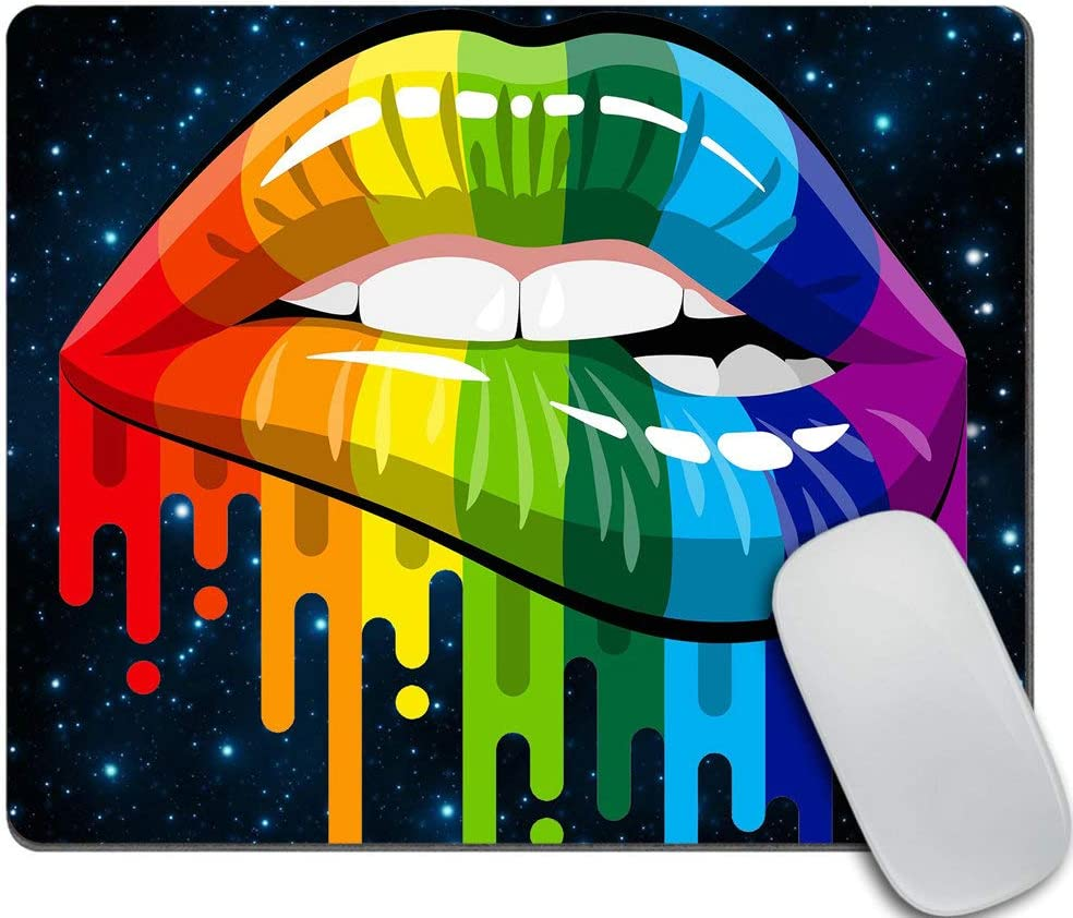 Amcove LGBT Gay Rainbow Lips Mouse pad Non-Slip Rubber Gaming Mousepad Rectangle Mouse Pads for Computers Laptop 9.5 X 7.9 Inch (240mmX200mmX3mm)