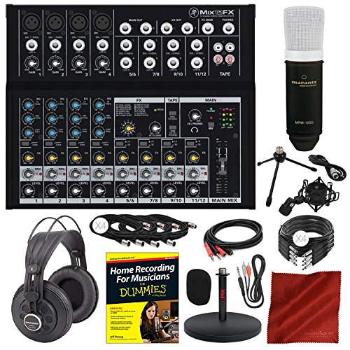 - Mackie Mix Series Mix12FX 12-Channel Compact Mixer and Platinum Studio Bundle with Condenser Microphone + Xpix Desktop Studio Mic Stand + Studio Headphones + More