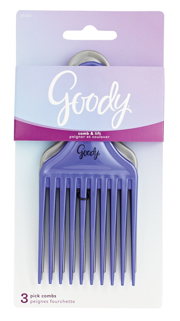 Goody Comb & Lift Hair Pick, 3 Count, Assorted Colors (Pack of 2) 27103