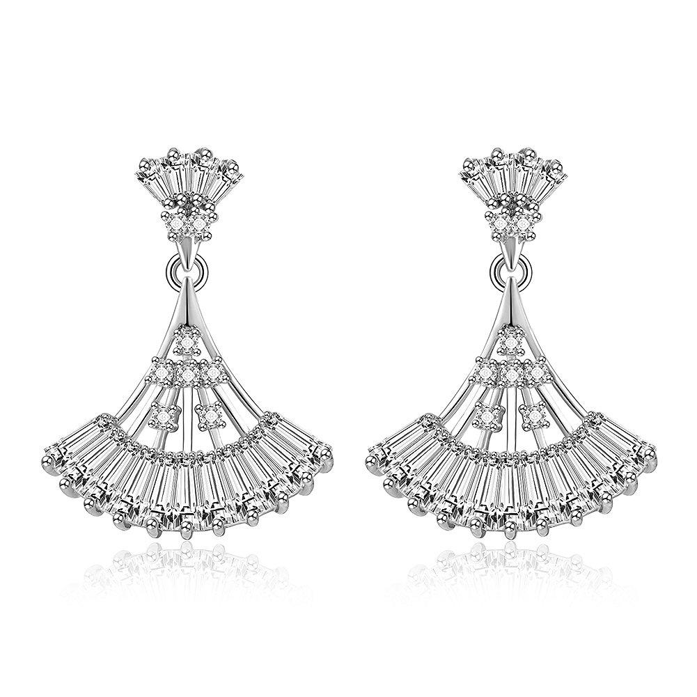 DolceArt Fashion Setting Paved Cubic Zircon Drop Earrings Sweet Elegant Earrings Zircon Shine Sector Earrings in sterling silver for Women Girls