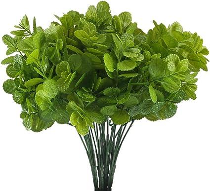 Mihounion 4 Plante Artificielle Arbustes Buissons Fausse Plastique Plante Menthe Artificielle Feuilles Vertes Décoration à Pot Fleur Pour Balcon Jardin Chambre Plant Verte Buisson Amazon Fr Cuisine Maison