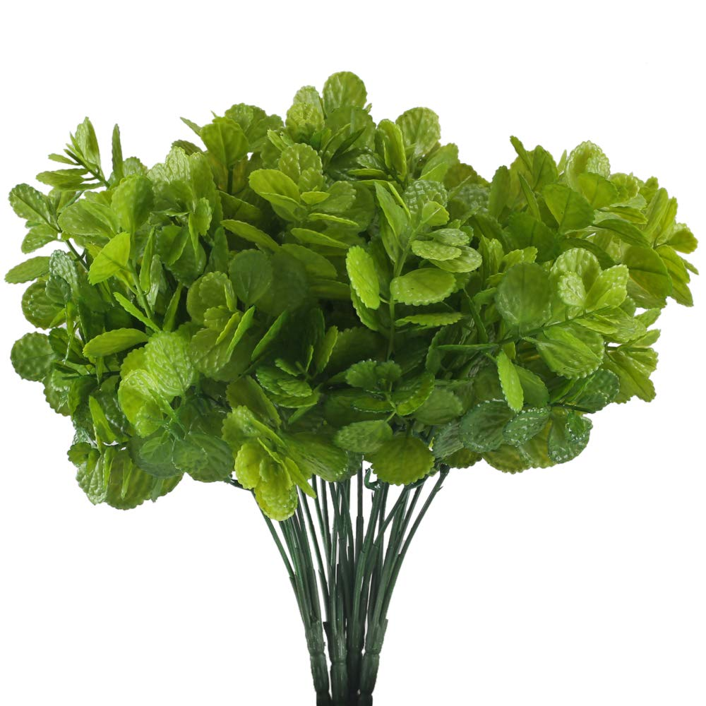 HUAESIN Fake Plants Decor Faux Plants Artificial Fake Greenery Shrubs Plastic Spearmint Leaves for Indoor Outdoor Pot Vase Hanging Planter Wedding Green 4pcs