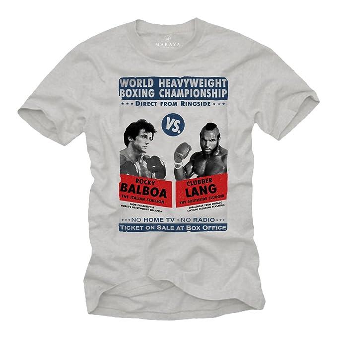 Ropa Gym Hombre - Camiseta Estampada Manga Corta - Rocky Balboa Gris S