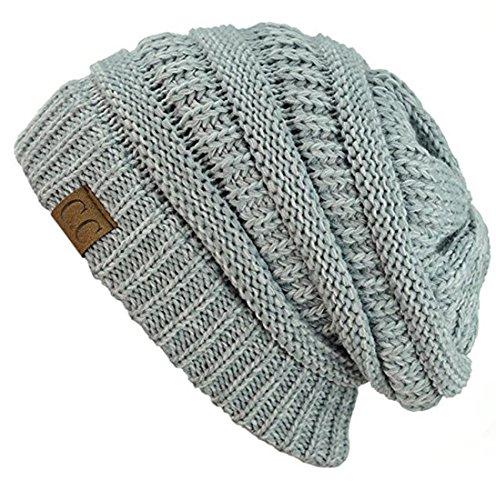 fcf234ad4 C.C Trendy Warm Chunky Soft Stretch Cable Knit Beanie Skully (2 Tone Grey)