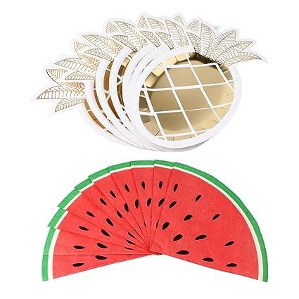 OurWarm 8 Pineapple Paper Plates and 20 Watermelon Fruit Paper Napkins Luau Tiki Bar Hawaiian Tropical  sc 1 st  Amazon.com & Amazon.com: OurWarm 8 Pineapple Paper Plates and 20 Watermelon Fruit ...