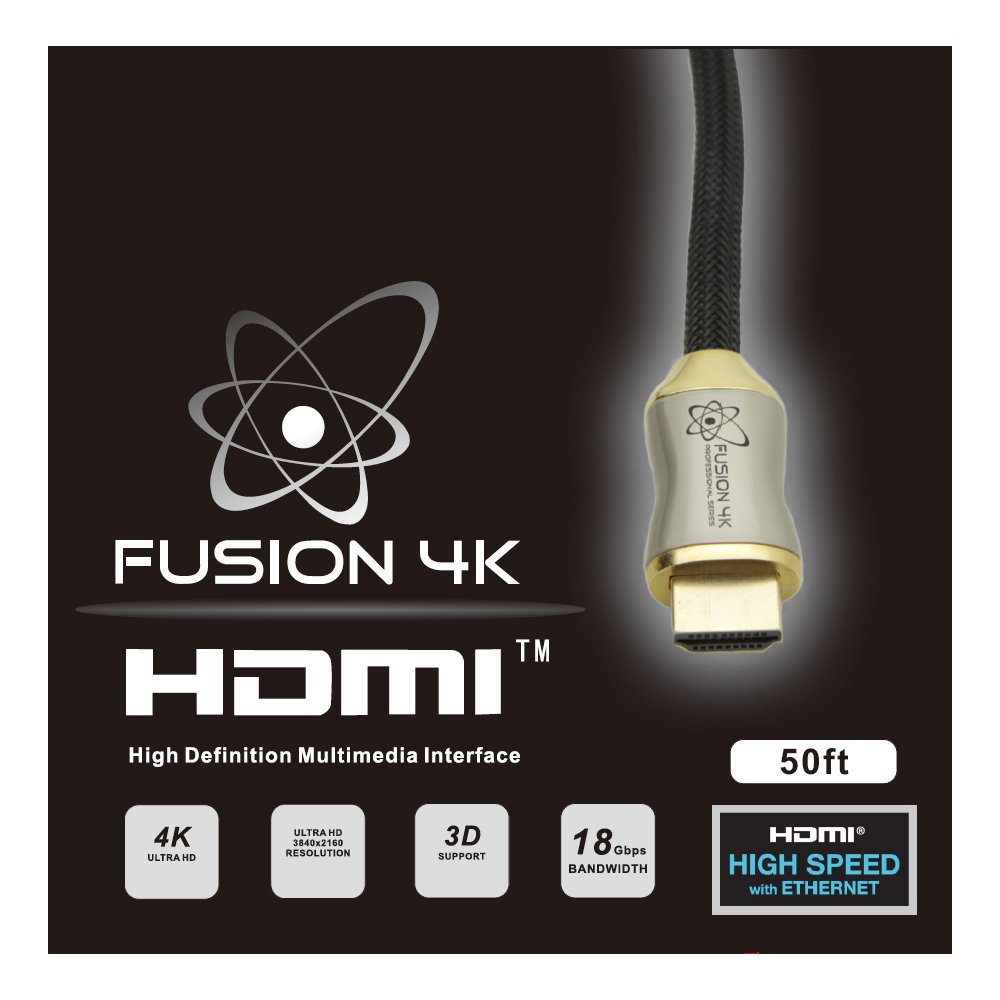 Fusion4K High Speed 4K HDMI Cable (4K @ 60Hz) - Professional Series (50 Feet) CL3 Rated by Fusion4k