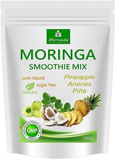 Batido de polvo de moringa, potenciador de energía, batido de vitaminas, batido de proteínas, reemplazo de comidas – diferentes sabores - 100% natural y vegano, sin azúcar* (250 g sabor a piña):