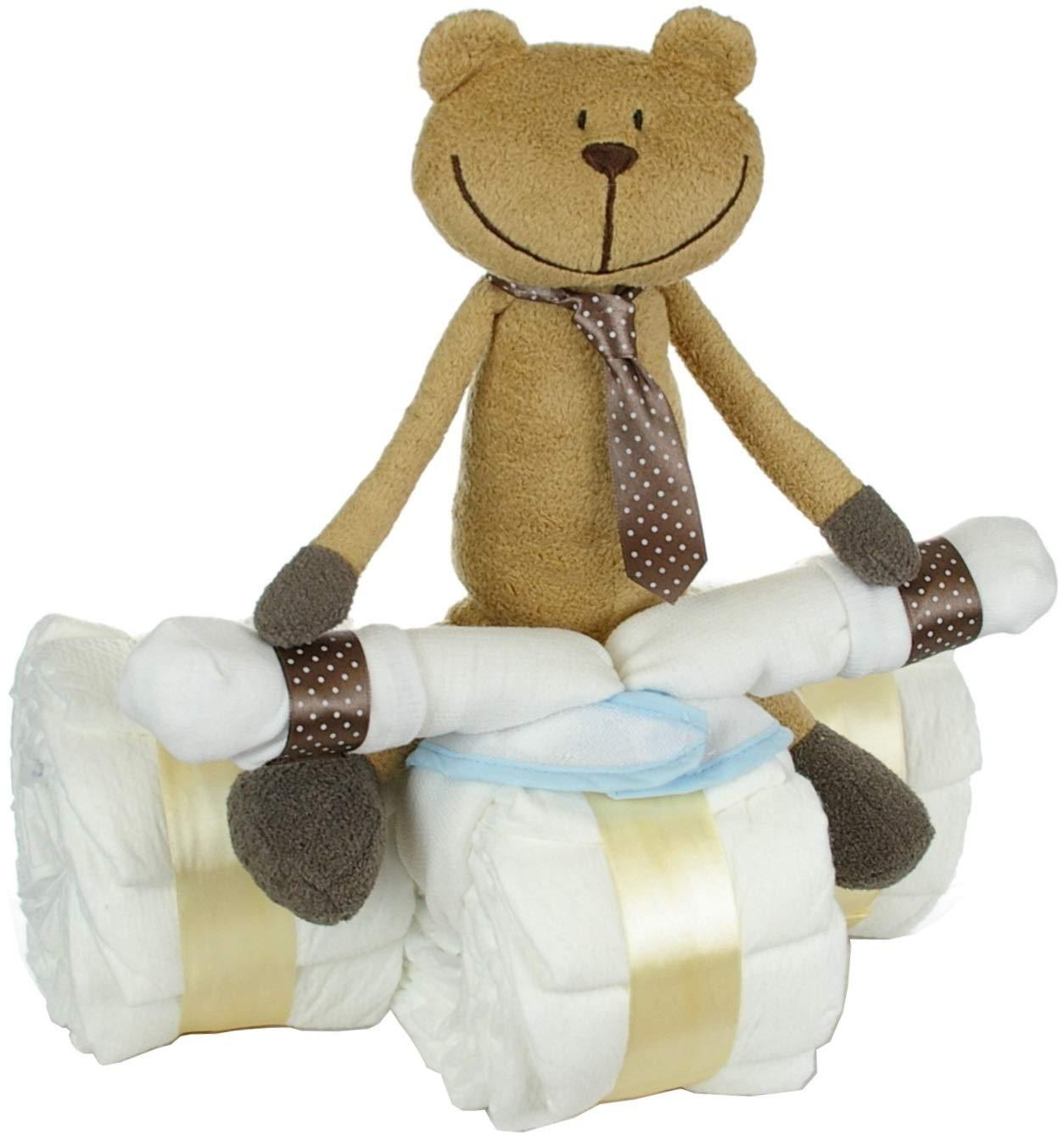 Baby Geschenk zur Geburt//Windeltorte 42-teilig dubistda/© Windeldreirad mit Fahrer B/är