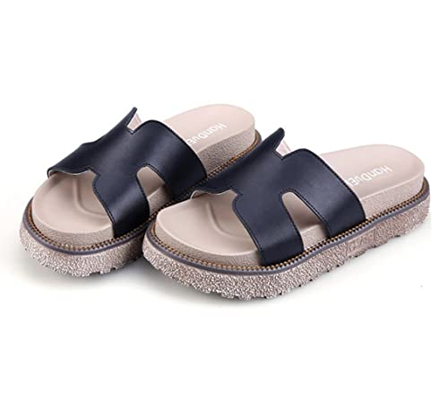 1ce7f432a758 Zarbrina Womens Flat Platforms Slides Sandals Ladies Summer Fashion Solid  Peep Toe Thick Bottom Slippers Black