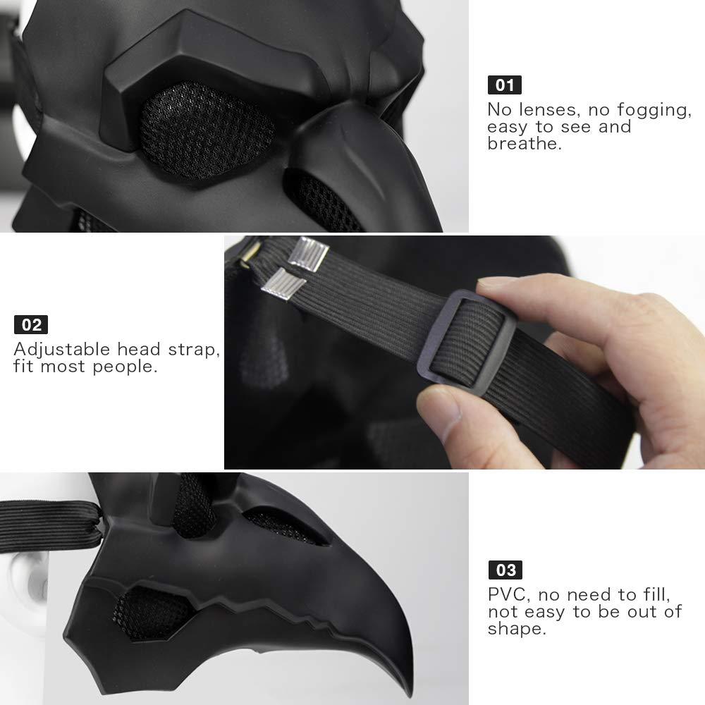 Crow Mask Long Nose Bird Beak Steampunk Halloween Cosplay Party Props Black Full Head Mask