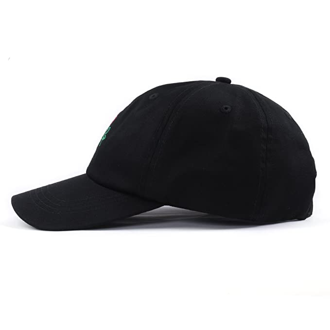 2249b16377a8a Amazon.com  Rose Embroidered Dad Hat Adjustable Women Men Cotton Floral Baseball  Cap (Black)  Clothing