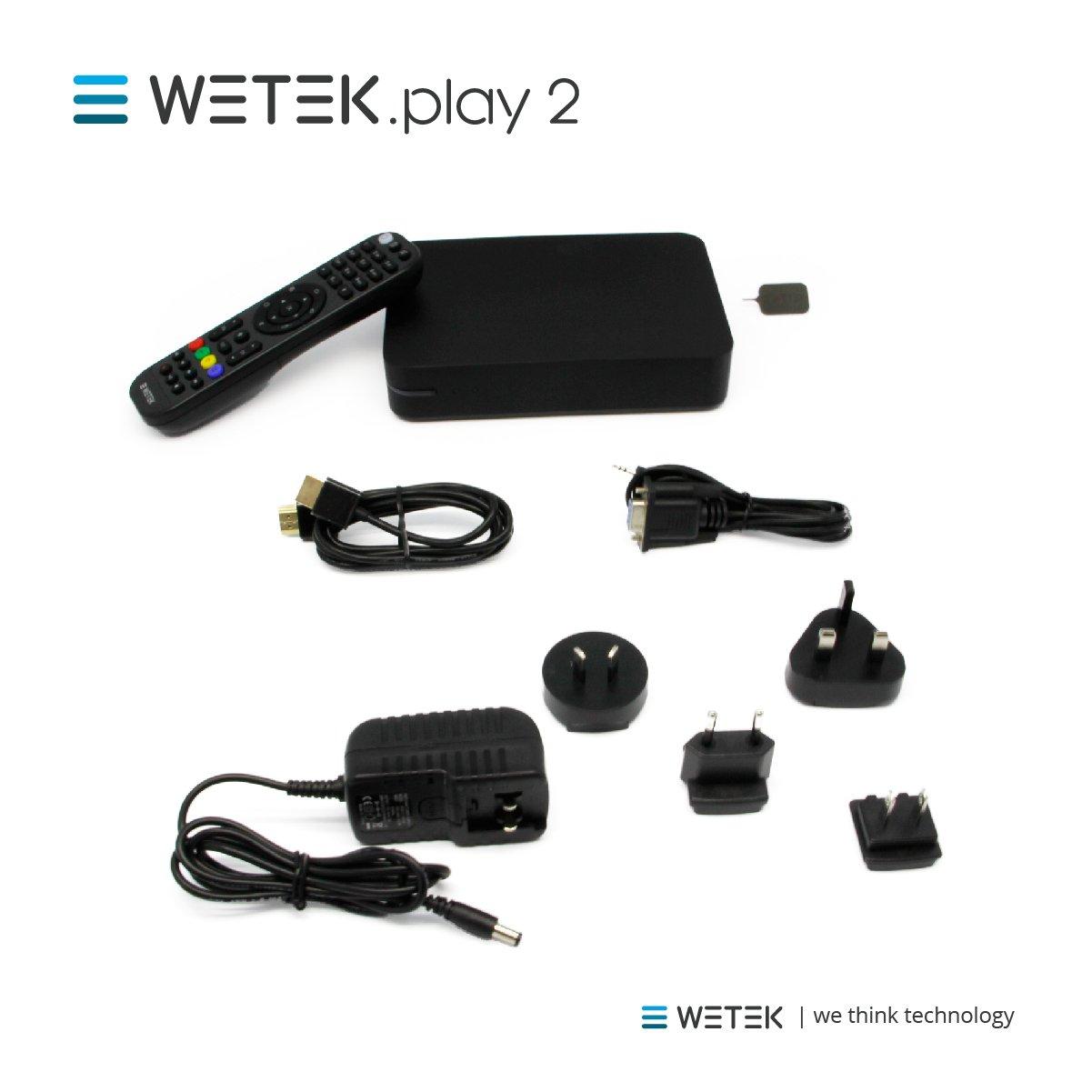 WeTek Play 2 Box IPTV // OTT 2GB DDR3 H265 immagine 4k Ultra HD Il lettore multimediale ibrido con sintonizzatore TV integrato basato su Android certificato DTS DVB-S2