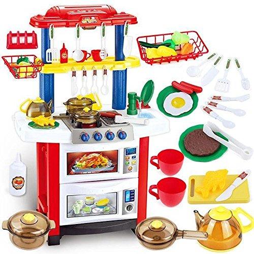 deAO Happy Little Chef Cuisine PlaySet Avec Lumière, Sons et Caractéristiques d'eau - Comprend 33 Accessoires