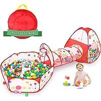 Tunel de Juego Infantil Tiendas de Campaña para Niños, Carpa de Juego Emergente 3 en 1 Tienda Campaña Infantil : Piscina…