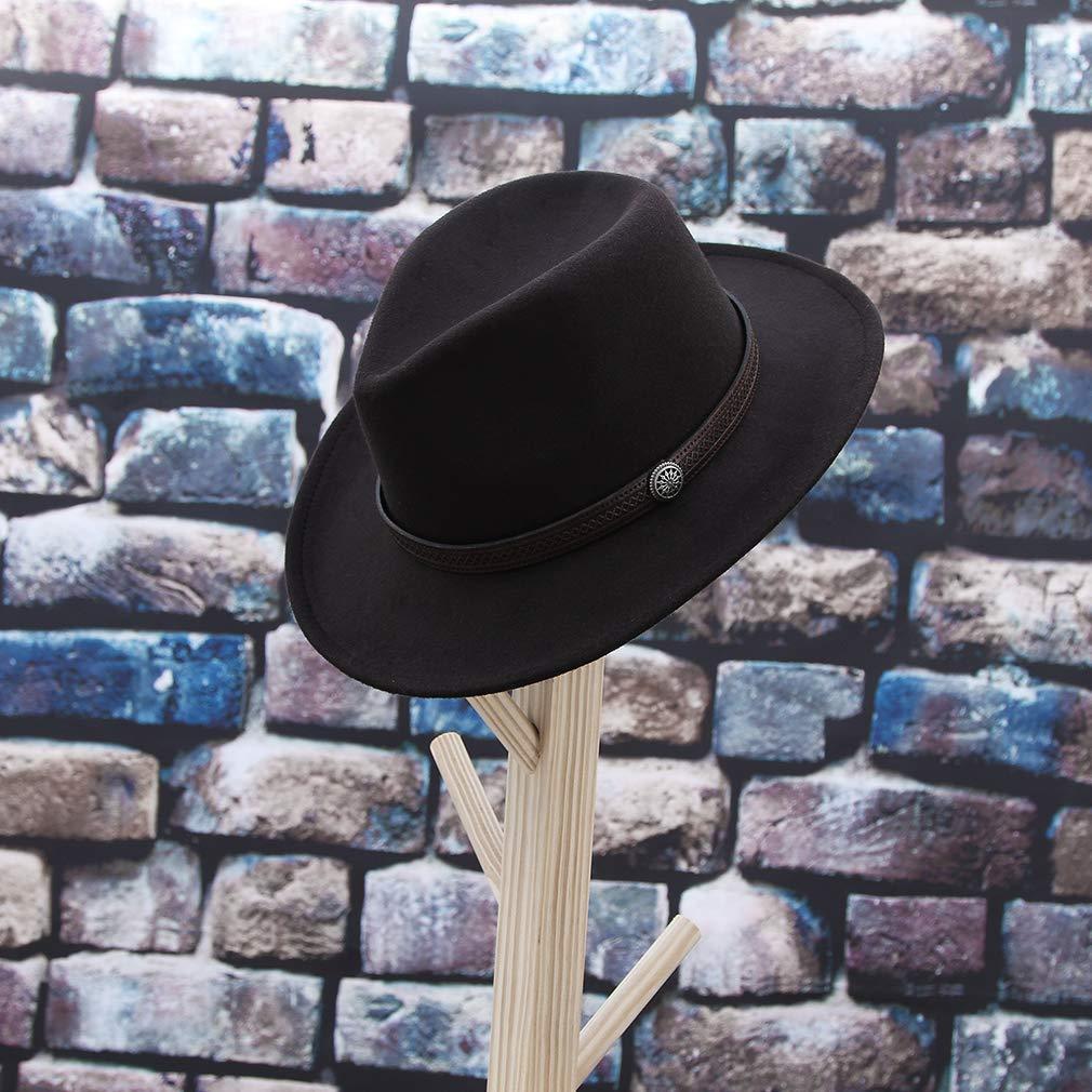 "GEMVIE Unisex Fedora Panama Hat Wide Brim Belt Buckle Floppy Outback Hat Cowboy Hat 57cm 22.44/"""