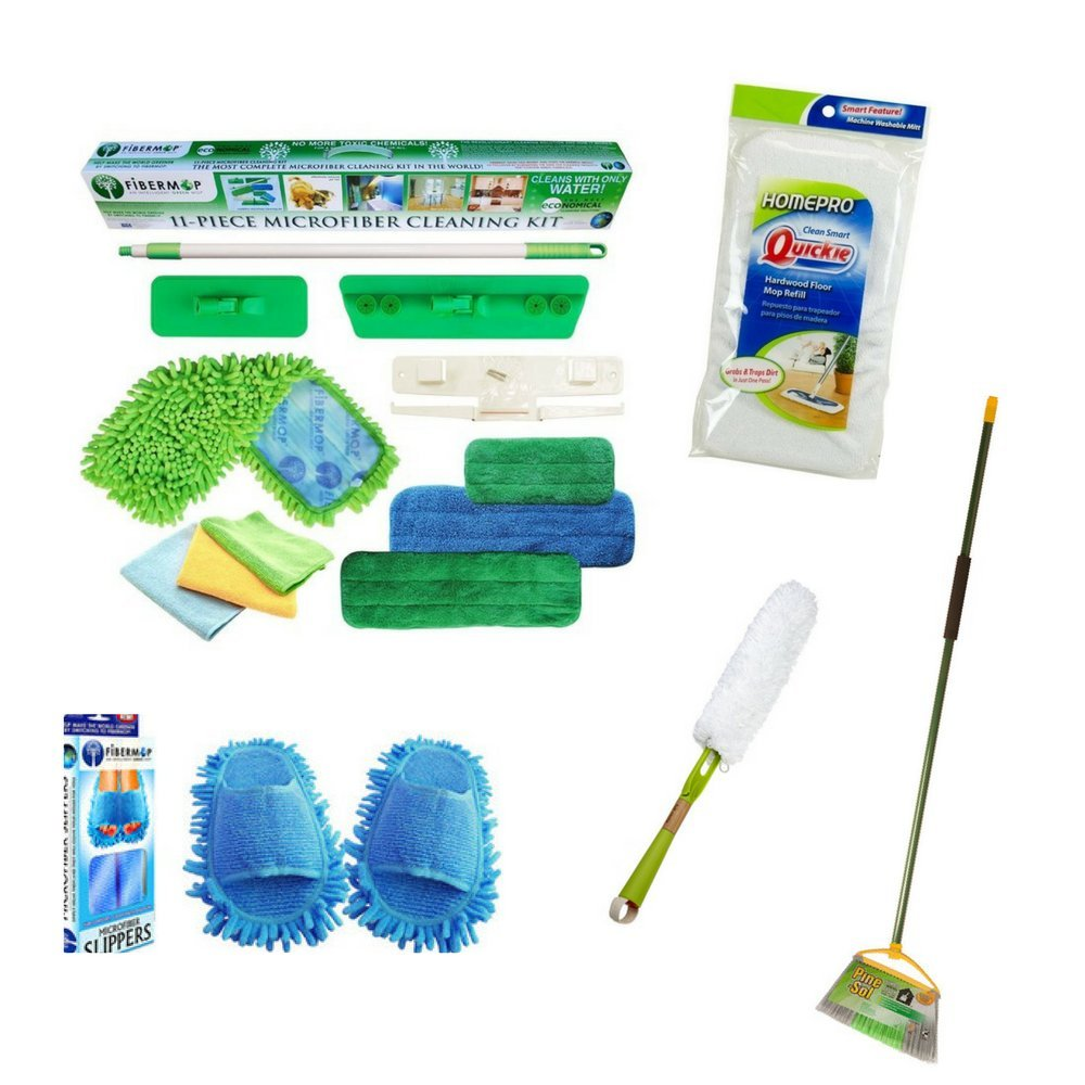11-piece Microfiber Cleaning Kit with a Fibermop Slippers includes Jumbo Angle Broom with EVA Grip and a Dust Whisperer Refill with a Bonus Mighty Mop Mitt Refill Bundle