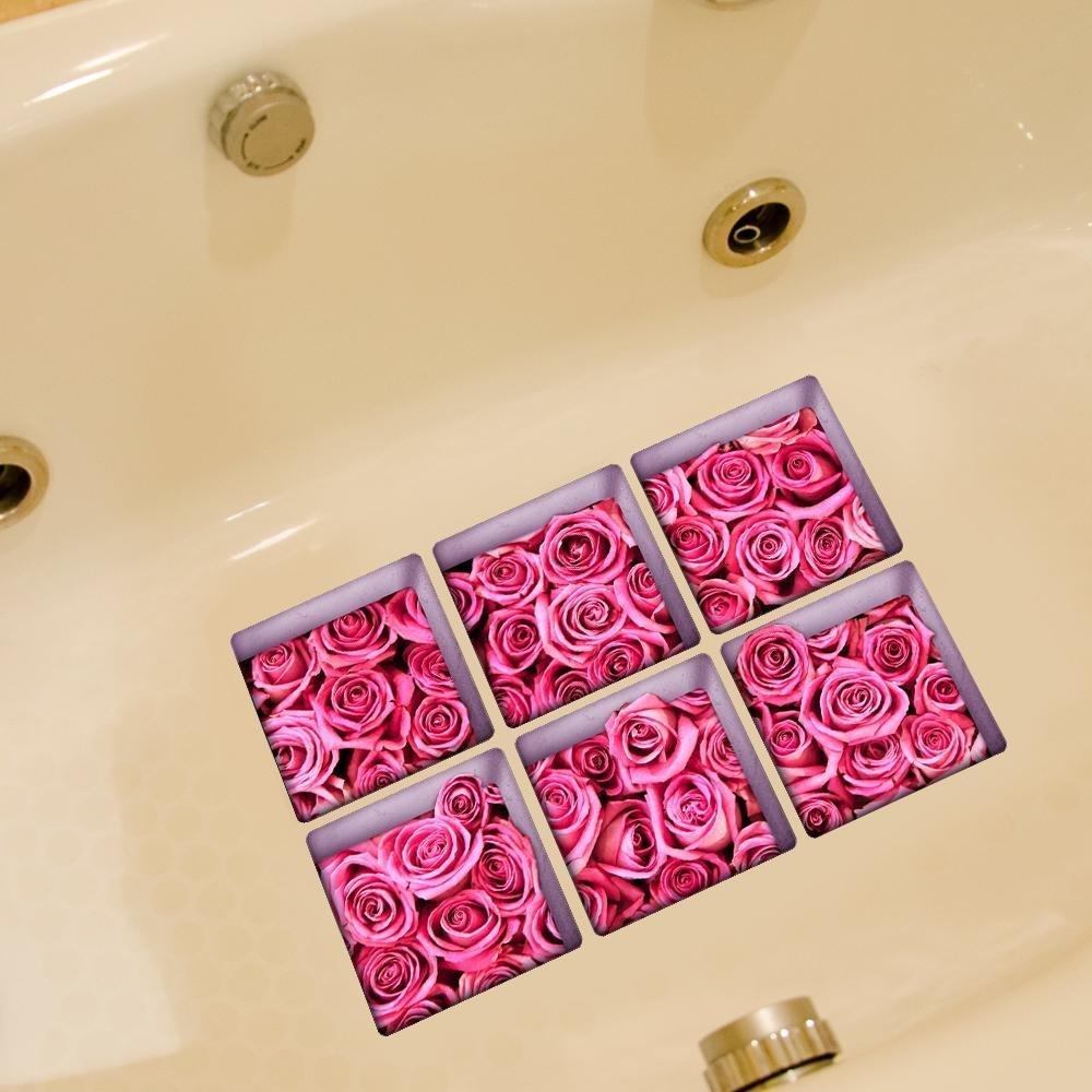 LXPAGTZ Bagno creativo 3D incolla personalità e durevolezza macchia-resistente ad alta temperatura HD bagno rosa impermeabile antiscivolo vasca adesivo auto adesivi singolo foglio dimensioni 130 * 130 millimetri (5.11 * 5.11 pollici) set di 6 #012 XTZLTY