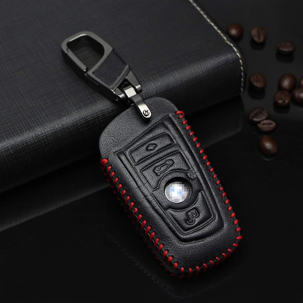 Visongel Compatible with BMW Key Case Cover Leather Keyless Entry Remote Control Key Fob Jacket Shell with Keyring