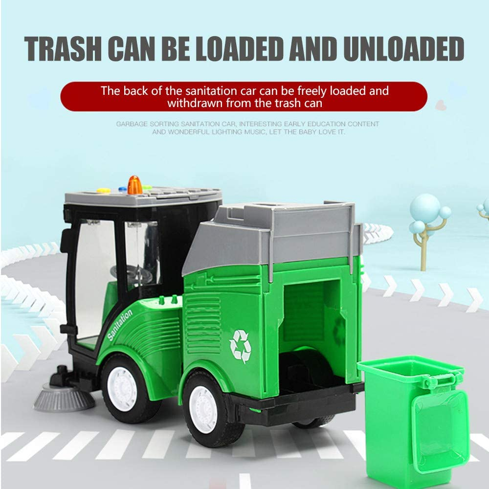 Garbage Sorting Toy Spazzare Auto 108 Carta Didentit/à Per Consapevolezza Ambientale Consapevolezza Della Classificazione Dei Rifiuti Camion Giocattolo Con 4 Bidoni Della Spazzatura Truck