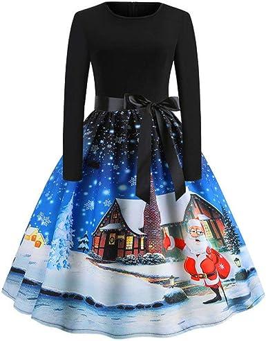 POLP Navidad Vestido mujer Slim Fit Vestidos Estampado Vintage de ...