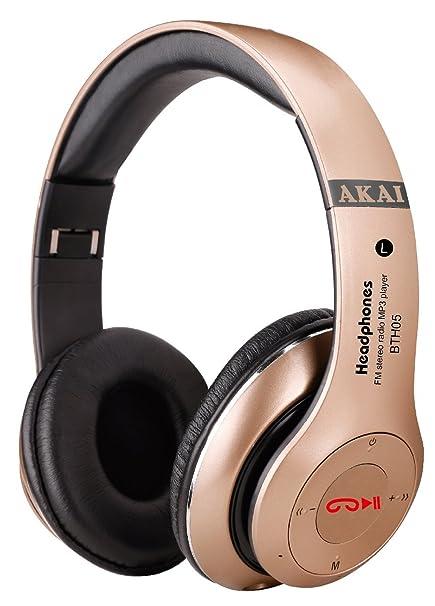 Akai BTH05 – Auriculares Diadema Bluetooth Estéreo/MicroSD/Radio/Manos Libres/Multifunción