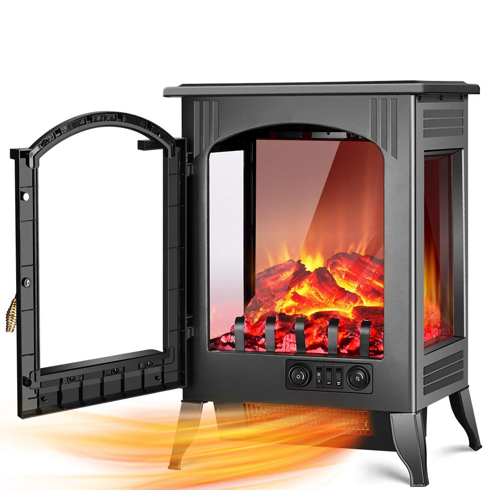 Electric Fireplace Stove – 1500W 750W Infrared Electric Fireplace Heater with 3D Flame Effect, Adjustable Flame Brightness, Overheat Protection, Large Size Room Electric Wood Stove for Indoor Use