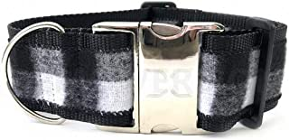 "product image for Diva-Dog 'Buffalo Plaid Glacier White' 2"" Extra Wide Custom Engraved Dog Collar"