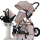 Baby Stroller 3 in 1 High Landscape Baby Carriages, Baby Pushchair with Bassinet for Newborn Baby and Toddler 3 in 1 Travel System