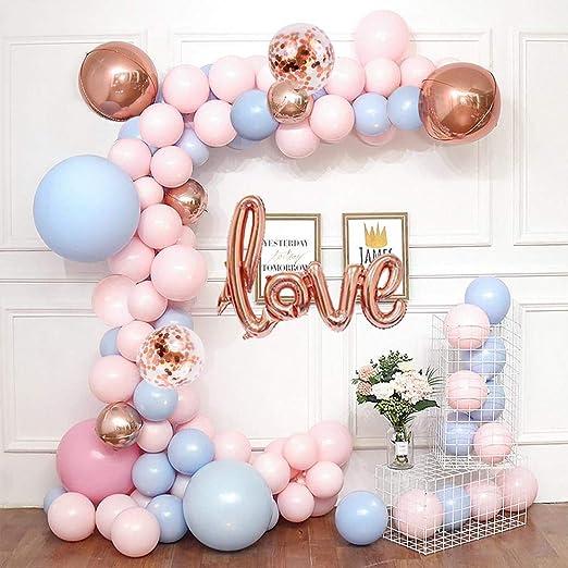 MMTX Boda Cumpleaños Globos Decoración Festival fiesta,Azul y rosa Macaron Globo Guirnalda con Love globo 4D Globos de bolas de oro rosa para Nupcial ...