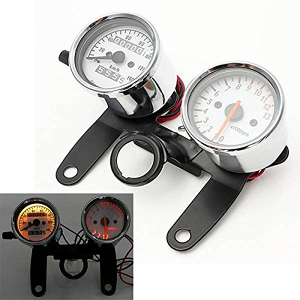 Iztor Universal Motorcycle scooters Tachometer+odometer Speedometer Gauge with black Bracket by iztor