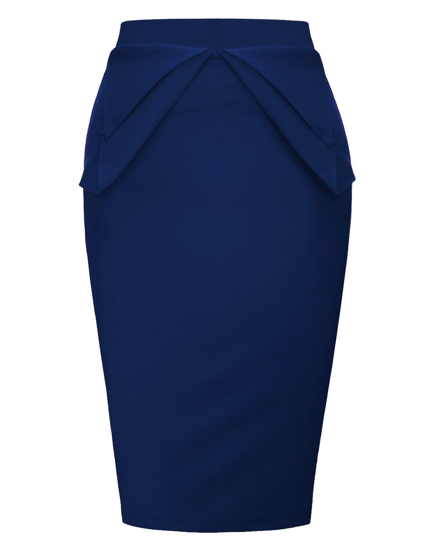 Regna X Women's Knit midi Sexy Scuba Skirts Dark Blue 3X