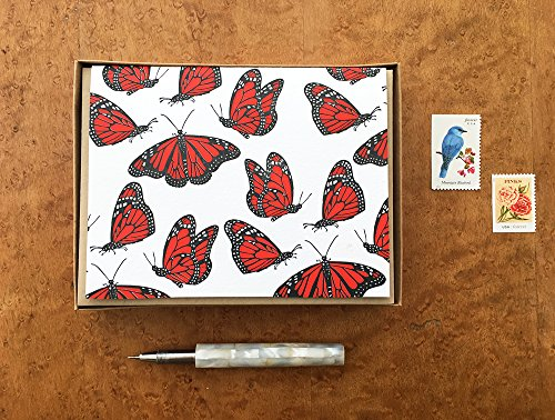 Monarch Butterflies, Nature Stationery, Boxed Set of 8 Letterpress Notecards, Blank Inside ()